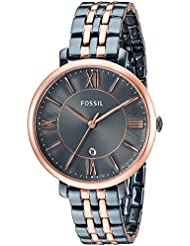 Fossil Womens Jacqueline Quartz Stainless Steel Casual Watch, Color Blue (Model: ES4321)