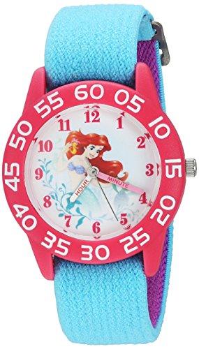Disney Girl's 'Princess Ariel' Quartz Plastic and Nylon Casual Watch, Color:Blue (Model: WDS000171)