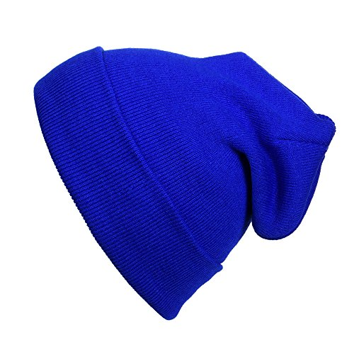 (Cap911 Unisex Plain 12 inch long Beanie - Many Colors (One Size, Royal))