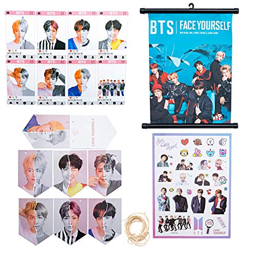 Maycoo BTS Kpop Bangtan Boys Love Yourself Answer Accessories - Photo Card Hanging Flag DIY Stickers Wall Scroll Cloth Set ()