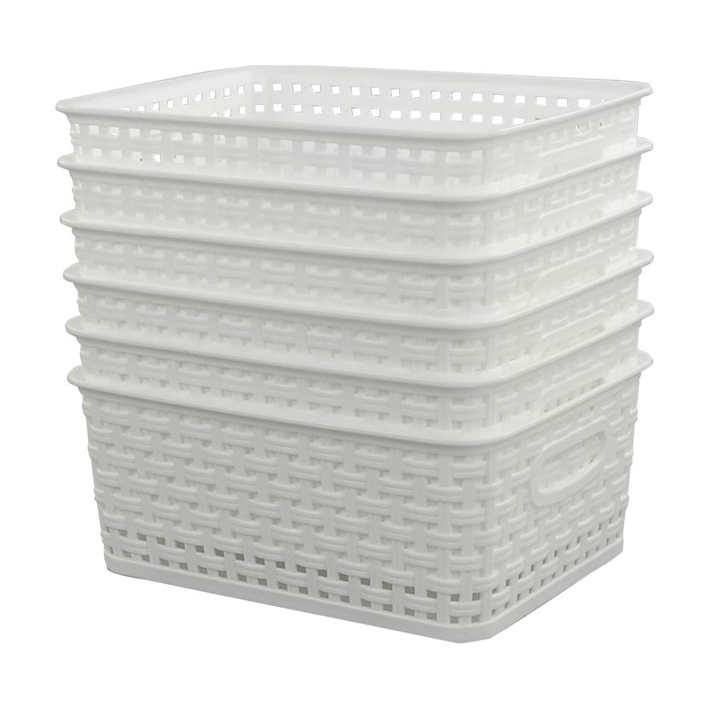 Sandmovie White Plastic Woven Ratten Baskets, 6-Pack Sandmovier