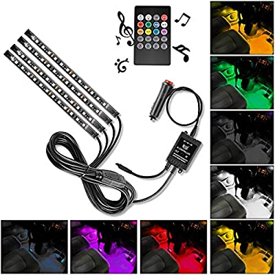 Nilight TR-06 4PCS 48 LED Interior DC 12V Multicolor Music Car Strip Dash Lighting Kit with Sound Active Function and Wireless Remote Control, 2 Years Warranty: Automotive