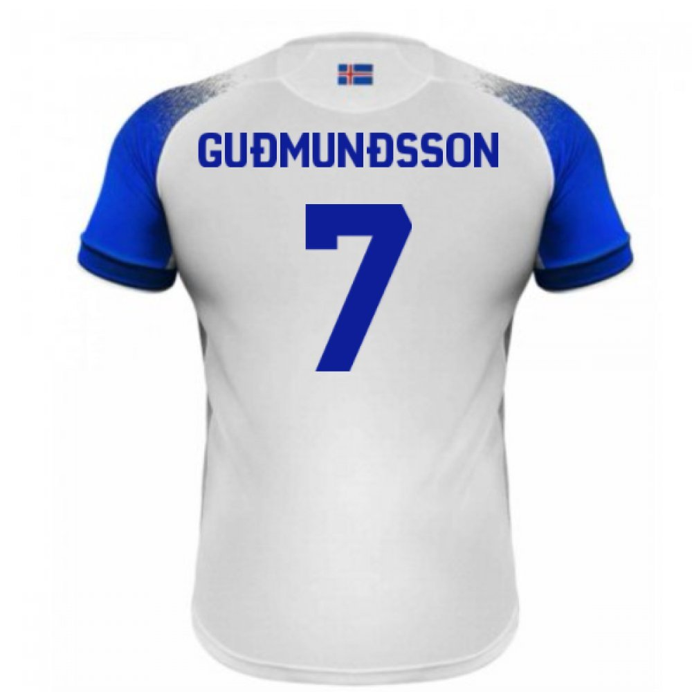 2018-2019 Iceland Away Errea Football Soccer T-Shirt Trikot (Johann Berg Gudmundsson 7)