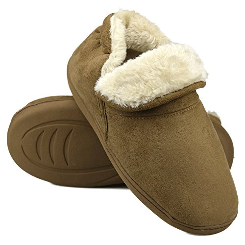 Skid Men Soft Lined Boot Indoor Bootie House Brown Dasein Outdoor Suede Anti Faux Winter Memory Fur Foam Slippers Slippers RqAww7C