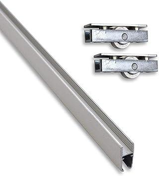 Montaje Juego compuesto de aluminio de montaje riel (0,95 m) para cristales con 2 ruedas: Amazon.es: Bricolaje y herramientas