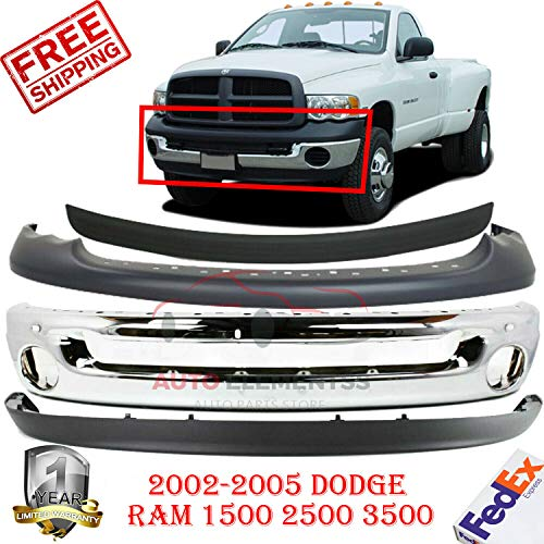 per For 2002-2005 Dodge Ram 1500-3500 Upper Valance & Lower Valance With Fog Light Holes Direct Replacement Primed Black Set Of 4 CH1000338 CH1090125 CH1002383 CH1019102 ()
