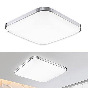 Plafonnier de Salon LED Lampe Plafond Design Moderne Lampe Carrée sur  Plafond Intérieur Pour Salle de Bain Cuisine Chambre Hôtel – Doré (Blanc ...