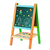 BATTOP Deluxe Two-Sided Wooden Art Easel Multifunctional Drawing Board With Magnetic Alphebet and Numbers For Child Education