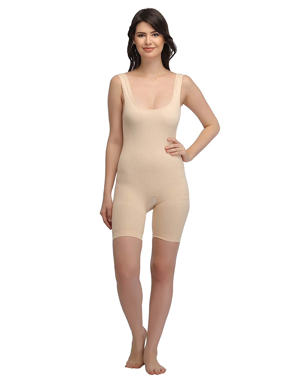 d1000d17eea00 Clovia Women s Laser-Cut No-Panty Lines High Compression Body Suit - Skin   Amazon.in  Clothing   Accessories