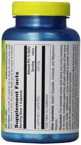 Nature's Life L Lysine Capsules, 500 Mg, 100 Count