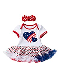 (3-24M) Independence Day Baby Short Sleeve Heart Dotted Star Print La Dress + Hair Strap Set
