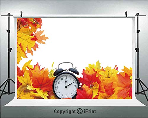 (Clock Decor Photography Backdrops Autumn Leaves and an Alarm Clock Fall Season Theme Romantic Digital Print,Birthday Party Background Customized Microfiber Photo Studio Props,5x3ft,White and Orange)