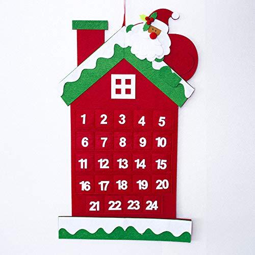juler 2pcs Seasonal Décor Christmas Novelty Decoration Christmas Felt Calendar Pendant Christmas Countdown Calendar Card Christmas Decoration Calendar,A,One Size]()