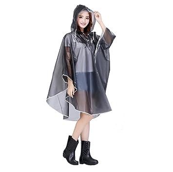 Grau Damen Regenponcho Transparent Eva Regenmantel Motorad Regenumhang Regenjacke Trenchcoat Regenkleidung Raincoat Fahrrad Regencape 100/% Wasserdic