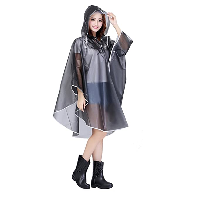women sale uk big clearance sale Women Packable Clear Hooded Raincoat Lightweight Travel Rain Cape Jacket  Poncho