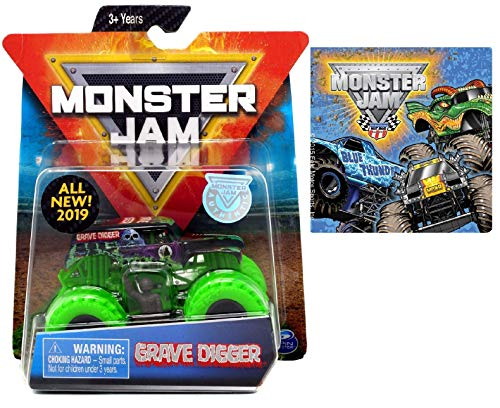 Monster Jam 2019 Grave Digger with Green Tires & One Monster Jam Sticker (Styles Vary) 2 Items Bundle