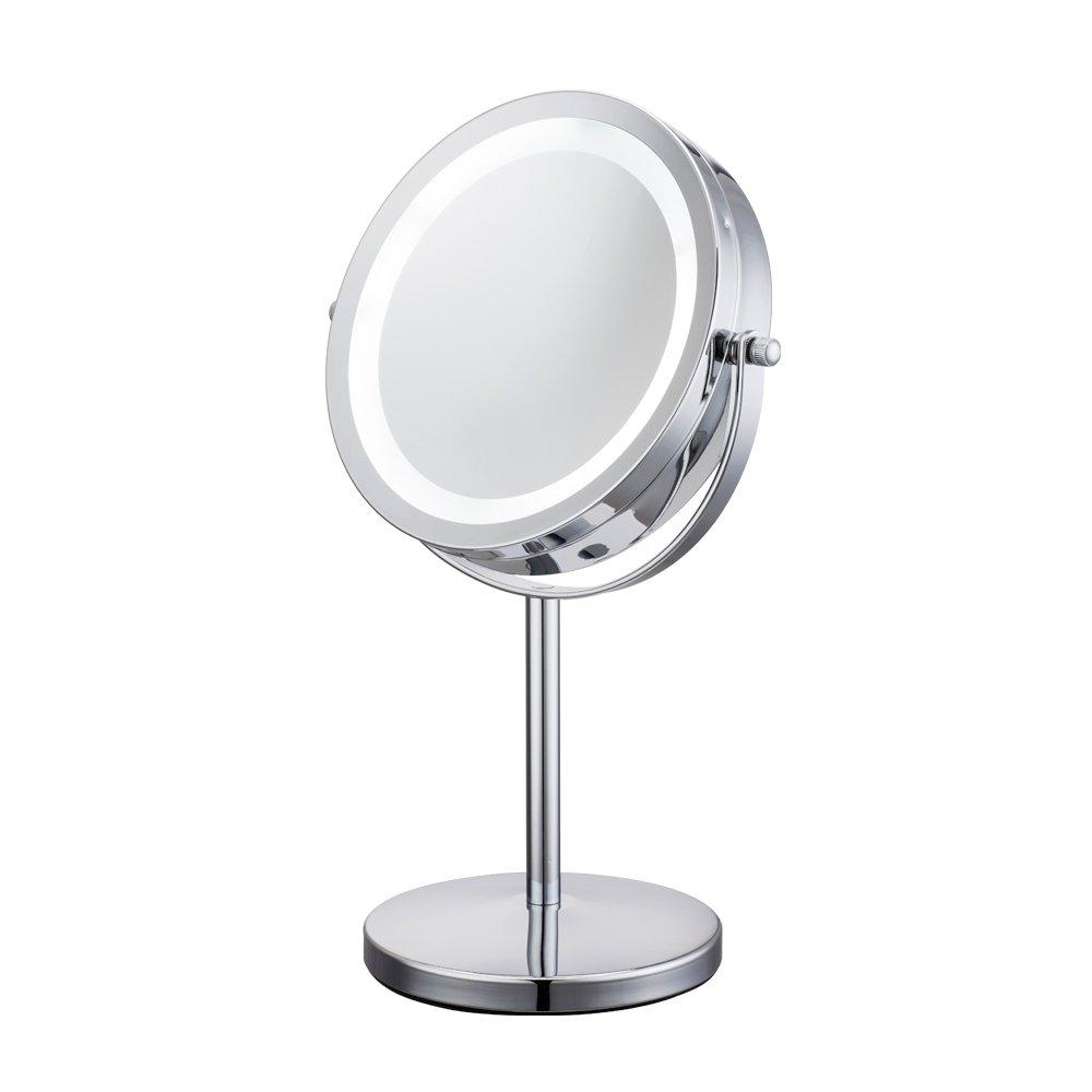 ALHAKIN - Miroir de table avec lumiè re LED 1/10X - Miroir de cosmé tique - 17, 8 cm 8cm D710