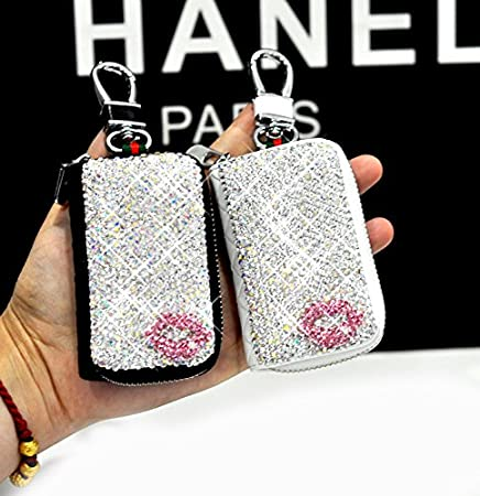 Bestbling Bling Bling Car Key Holder 3D Handmade Leather Auto Key Case Car Key Gourd Leather Holder Cover Case with Luxury Bling Crystal Diamond Rhinestones Lips Red