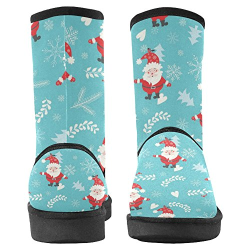 InterestPrint Womens Snow Boots Unique Designed Comfort Winter Boots Christmas Pattern with Santa Claus Multi 1 eAUwV0N