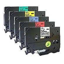 NEOUZA 5 Packs Compatible For Brother P-Touch TZ TZe Label Tape TZ231 TZ431 TZ531 TZ631 TZ731 12mm x 8m 1/2 Inch x 26.2 Feet (Set of Black Print on 5 Colors)