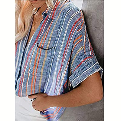 NANTE Top Loose Women's Blouse Baggy Fitting Button Down Collar Shirts Short Sleeve Shirt V Neck Womens Tops Ladies Costume: Clothing
