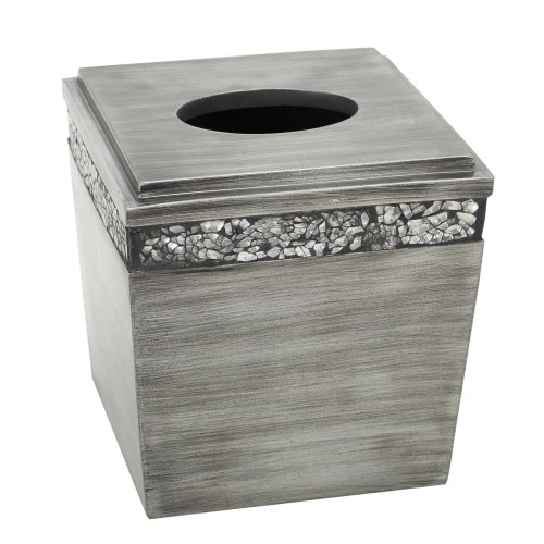 Pewter Box - Zenna Home, India Ink Altair Tissue Box Cover, Pewter