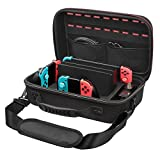 IUNIQEE Nintendo Switch Games Case - Protective Hard Shell Deluxe Travel Case Nintendo Switch Carrying Case with Pouch 18 Game Cartridges for Switch Console & Accessories, Black