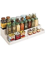 mDesign Kruidenrek voor keukenkast en werkblad, uittrekbaar kunststof, voor orde in de keuken, praktische keukenorganizer op 3 niveaus
