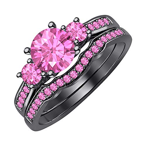 (tusakha 3-Stone CZ Round Cut Pink Sapphire 14K Black Gold Curved Wedding Band Engagement Bridal Ring Set for Women 925 Sterling Silver)
