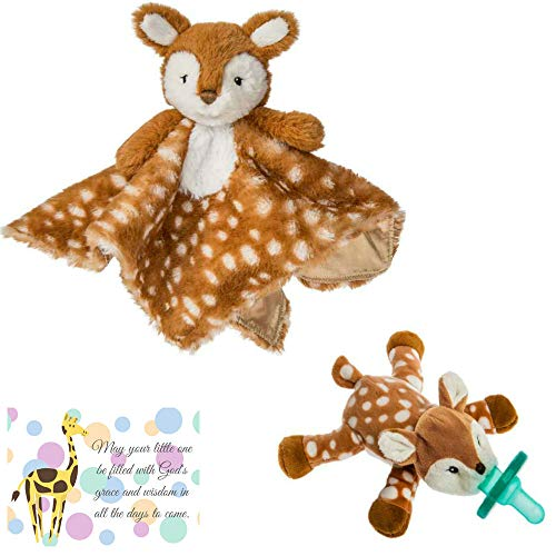 Woodland Baby Nursery Mary Meyer Character Blanket and Matching Wubbanub with Mini Gift Card-Bundle of 3 Items (Fawn)