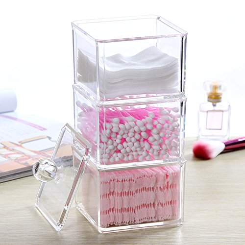 FLYMEI Dustproof Clear Acrylic Cotton Ball & Swab Holder, Cosmetic Organizer Makeup Storage Organizer for Cotton Swabs, Q-Tips, Make Up Pads, Cosmetics, Jewelry & More - for Bathroom & Vanity