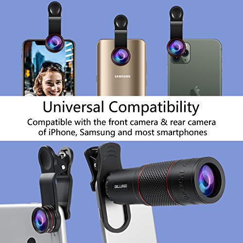 DELLURGO Phone Camera Lens 20x Telephoto Lens 205° Fisheye Lens 15x Macro Lens 0.63x Wide Angle Lens with Tripod Travel Case Cell Phone Lens Kit for iPhone XR/Xs/Max/8/7/6 Plus/Samsung/Google Pixel