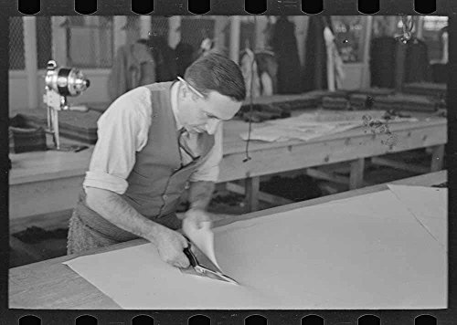 Louis Gushen  Chief Cutter In The Cooperative Garment Factory Of Jersey Homesteads  Is Cutting The Pattern For A Womans Coat  Hightstown  New Jersey