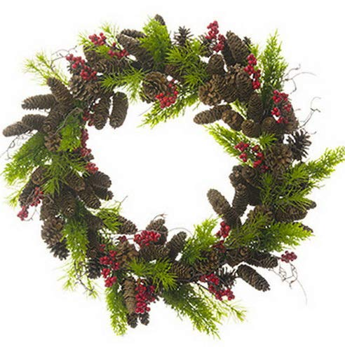 Mikash 28 Juniper, Pinecone, Pine Berry Artificial Hanging Wreath -Red/Green | Model WRTH - 397