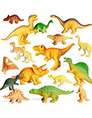"""Coogam 18PCS Realistic Dinosaur Toy Play Set Assorted Plastic Small Dino Figures Cake Toppers Birthday Party Favors Figurines Games Educational Displays Decoration for Boy Girl Kids Toddler ( 2"""" to 3.4"""" )"""