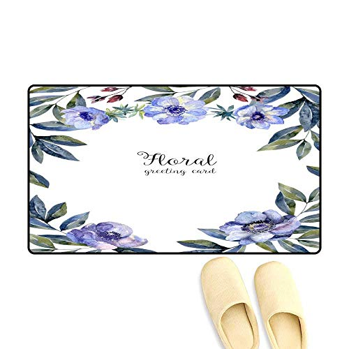 - Bath Mats for Floors Watercolor Floral Frame for Greeting car Cover