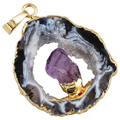 SUNYIK Irregular Natural Crystal Quartz Agate Druzy Geode Slice Pendant for Necklace,with Amethyst in Middle -