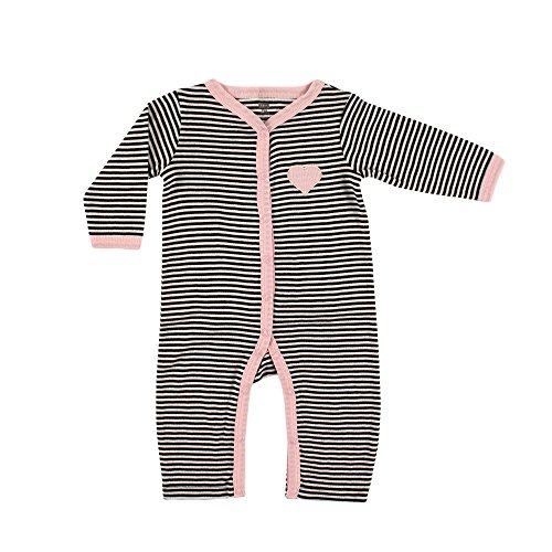 Hudson Baby Girls' Ruffle Union Suit, Pink/Black Stripes, 0-3 Months