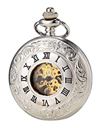 SEWOR Double Open Skeleton Pocket Watch Mechanical Movement Hand Wind Full Hunter With Leather Gift Box (Sliver)