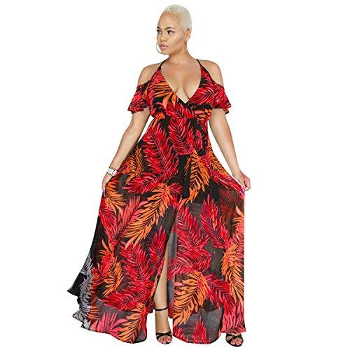 100ec57c2e50 Cxq Qin In Boho vestito Stampa Abito Donna Maxi Imbracatura Spiaggia Red  amp x UMzqVpS