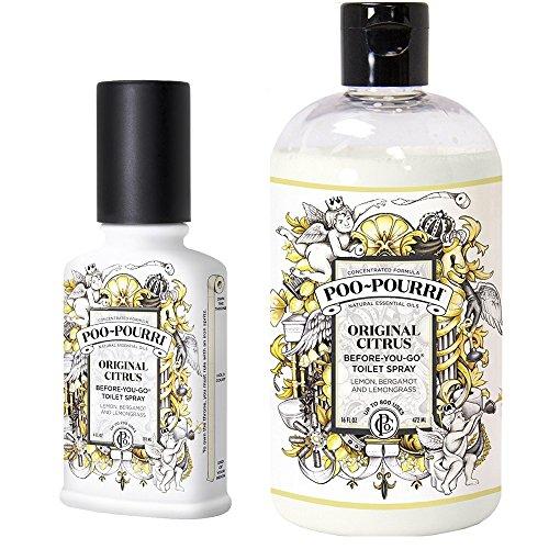 Poo-Pourri Before-You-Go Toilet Spray 4-Ounce Bottle, Original Scent + Poo-Pourri Before-You-Go Toilet Spray 16-Ounce Refill Bottle, Original by Poo-Pourri
