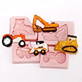Small Bull Dozer, Tractor, Excavator, Skid Steer Silicone Mold Set - Food Safe Fondant, Resin, Polymer Clay Mold. Flexible easy to use. Jewelry, Craft or Food Mold.