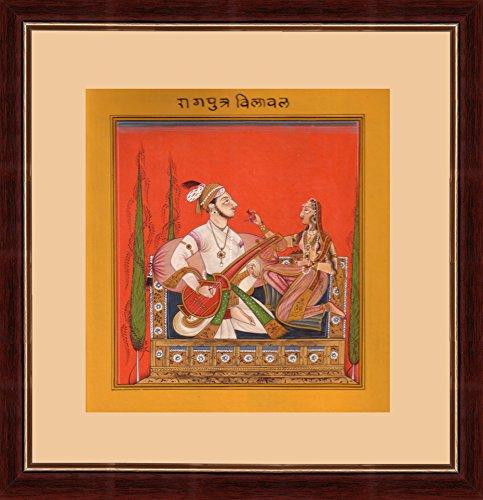 (Splendid Indian 16th Century Basohli Ragamala 'Ragaputra Bilawal of Bhairava' Indian Miniature Painting on Old Handmade Paper with Natural Colours)