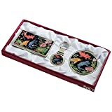 Nacre Mother of Pearl Business Card Holder Compact Mirror Keychain Gift Sets, Business Card Credit Id Card Case Makeup Cosmatic Mirror Key Holder Set Carp Design