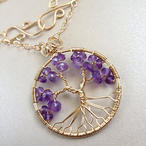 Gold Amethyst Tree Of Life Pendant Necklace, 4th Anniversary, February Birthstone, Aquarius - Wrap Amethyst Necklace