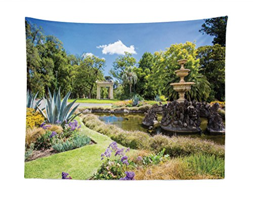 Lunarable Garden Tapestry, Fitzroy Gardens in a Summer Day Fountain Historical Iconic Tourist Attraction Place, Fabric Wall Hanging Decor for Bedroom Living Room Dorm, 28 W X 23 L Inches, (His Boy Garden Fountain)
