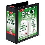"Cardinal XtraLife ClearVue Non-Stick Locking Slant-D Ring Binder, 4"", Black (26341)"
