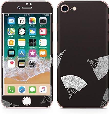 igsticker iPhone SE 2020 iPhone8 iPhone7 専用 スキンシール 全面スキンシール フル 背面 側面 正面 液晶 ステッカー 保護シール 010346 和風 和柄 扇子 黒