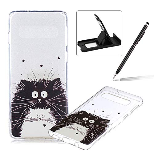Rubber Case for Samsung Galaxy S10,Herzzer Premium Stylish [Black White Cat Printed] Scratch Resistant Ultra Thin Soft Gel Silicone Transparent Clear Crystal Slim Fit TPU Back Cover