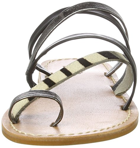 Inuovo 7754, Chanclas Para Mujer Mehrfarbig (Pewter-Black-Zebra)
